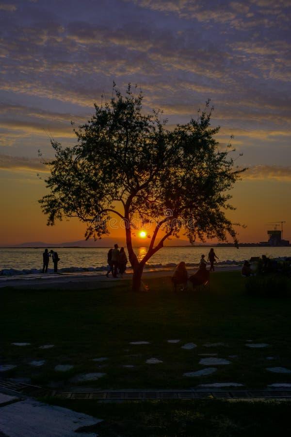 Ludzie i zmierzch na plaży obrazy royalty free