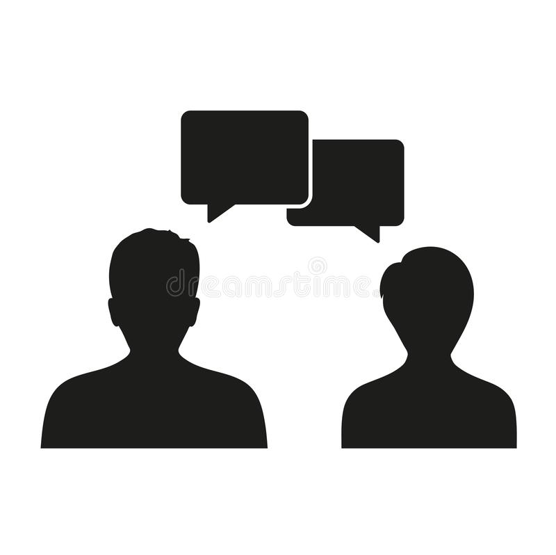 Ludzie ikon z dialog mowy bąblami avatar osoba projekt na białym tle royalty ilustracja