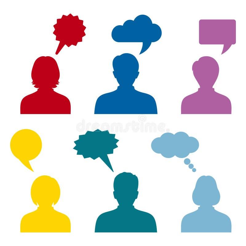 Ludzie ikon z kolorowymi dialog mowy budes na białym tle ilustracja wektor