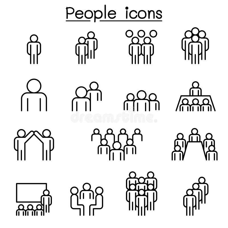 Ludzie ikony ustawiającej w cienkim kreskowym stylu royalty ilustracja