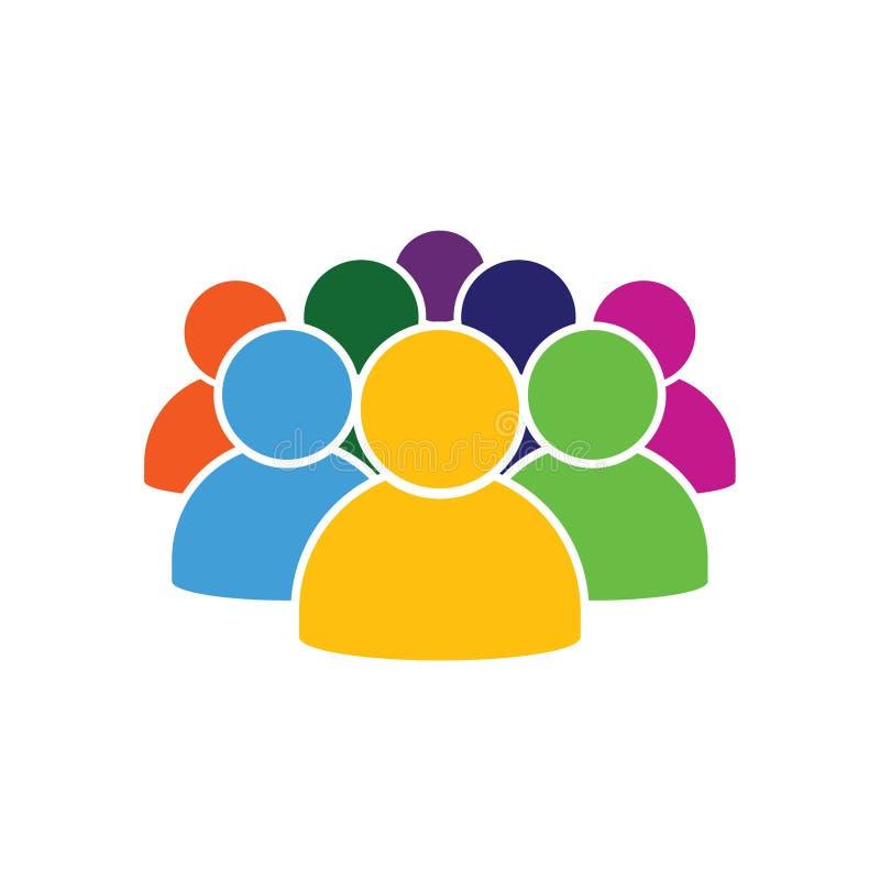 Ludzie ikony w różnorodnej kolor ilustraci ilustracja wektor