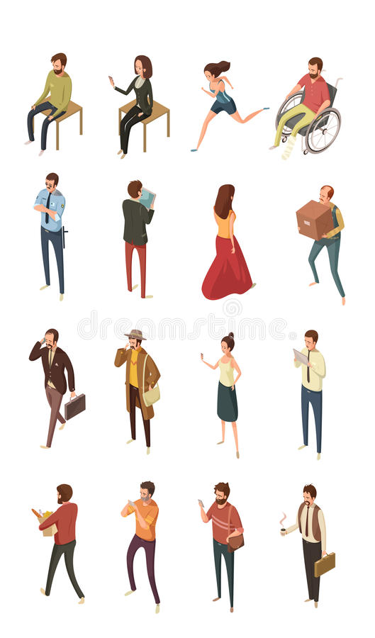 Ludzie Isometric ikon Ustawiać royalty ilustracja