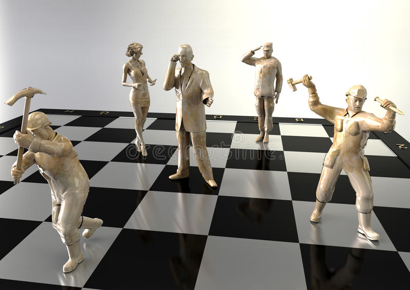 Ludzie jak postacie na chessboard zdjęcia stock
