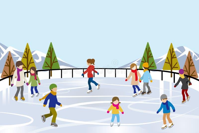 Ludzie jazda na łyżwach w natury Lodowym lodowisku royalty ilustracja