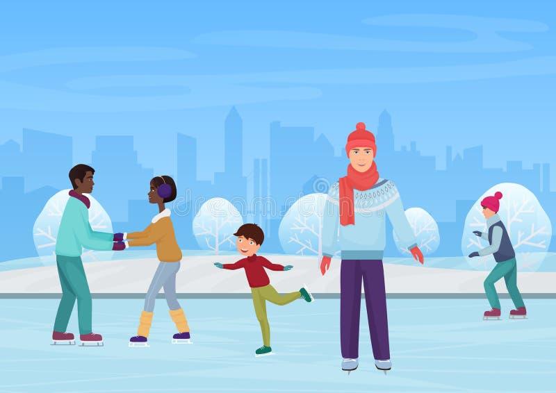 Ludzie jeździć na łyżwach na na otwartym powietrzu lodowisku w zima wektoru ilustraci ilustracja wektor
