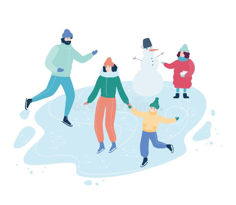 Ludzie jeździć na łyżwach outdoors na lodzie Zimy aktywno?? royalty ilustracja