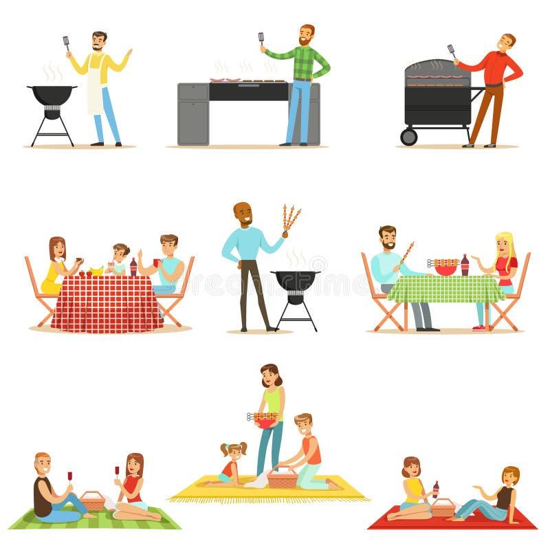 Ludzie Je Piec na grillu mięso Na Elektrycznej grilla grilla kolekci sceny Na BBQ pinkinie Gotuje I royalty ilustracja