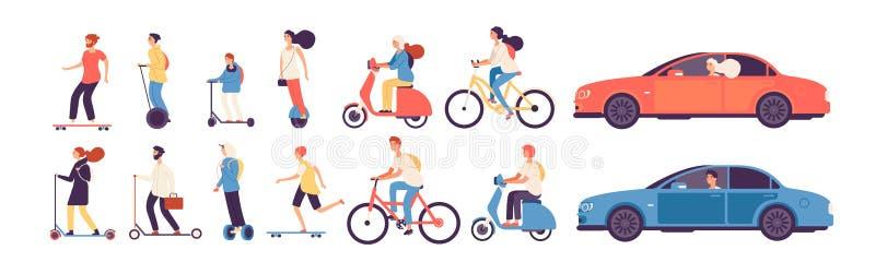 Ludzie jecha? Mężczyzna kobieta z elektrycznej pojazd przejażdżki motocyklu deskorolka hulajnogi łyżwy samochodowym rowerowym rol ilustracja wektor