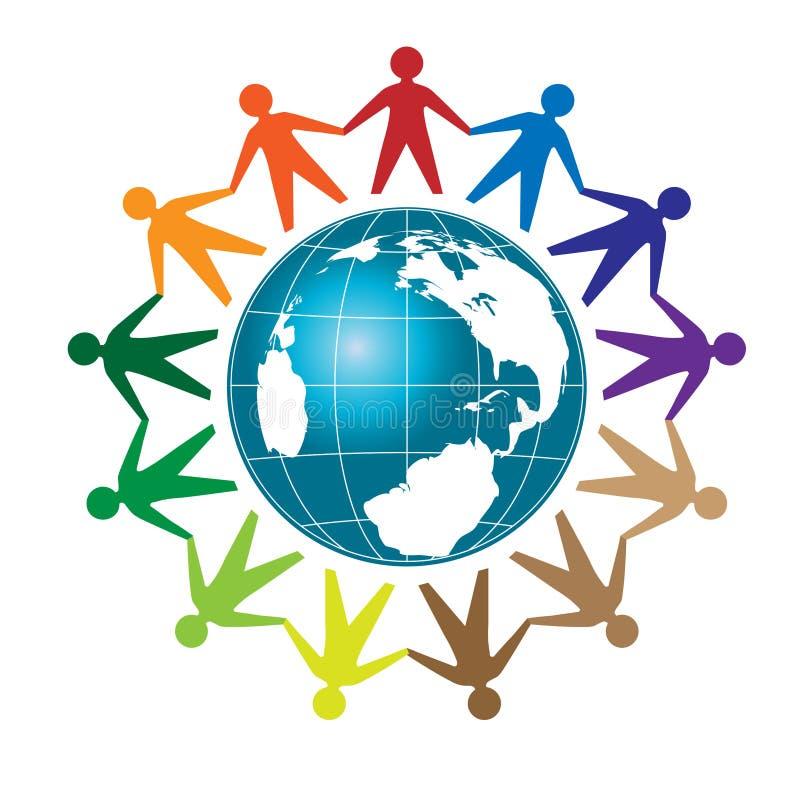 Ludzie jedności wokoło kuli ziemskiej ilustracja wektor