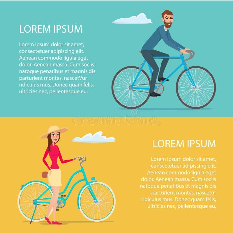 Ludzie jedzie bicykl Cykliści obsługują i kobieta Kreskówka plakat ilustracja wektor
