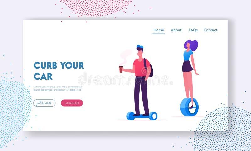 Ludzie Jedzie Nowożytną transporter strony internetowej lądowania stronę Hoverboard lub równoważenia deska, Elektryczny Unicycle royalty ilustracja