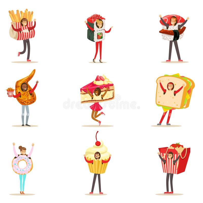 Ludzie Jest ubranym fast food Przekąszają kostiumy Przebierających Jako Cukierniana menu rzeczy kolekcja postać z kreskówki royalty ilustracja