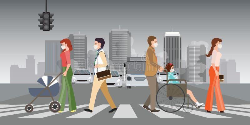Ludzie jest ubranym ochronne twarzy maski, spacer na crosswalk w mie?cie z zanieczyszczenie powietrza i ilustracja wektor