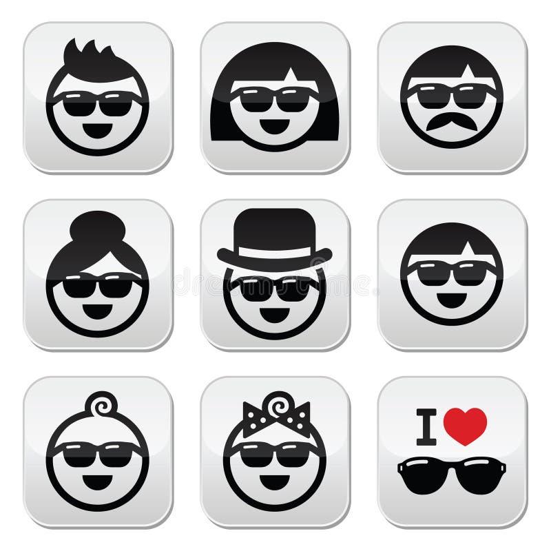 Ludzie jest ubranym okulary przeciwsłonecznych, wakacje ikony ustawiać ilustracja wektor