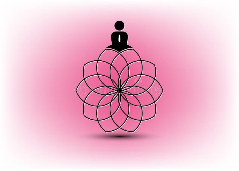 Ludzie joga Pracownianego logo i Lotosowy kwiat Emblemat ikona, mężczyzna w lotosowej pozy ikonie i zdrowie zdroju medytacji harm ilustracja wektor