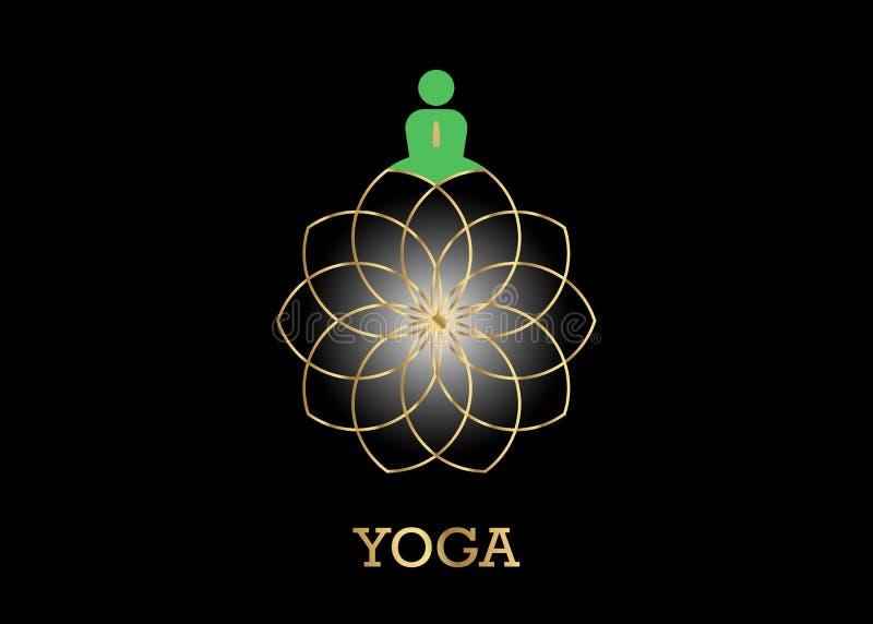 Ludzie joga Pracownianego logo i złocisty Lotosowy kwiat Emblemat ikona, mężczyzna w lotosowej pozy ikonie i zdrowie zdroju medyt ilustracja wektor