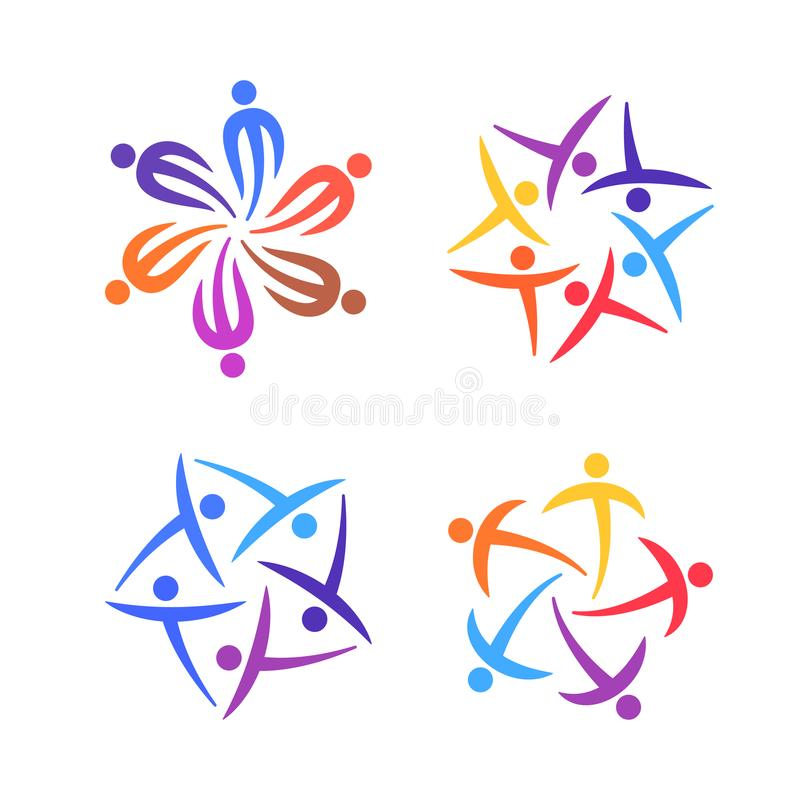 Ludzie kreatywnie loga setu Społeczności, drużyny, rodziny lub sieć szablonu ikon pojęcie, również zwrócić corel ilustracji wekto ilustracji