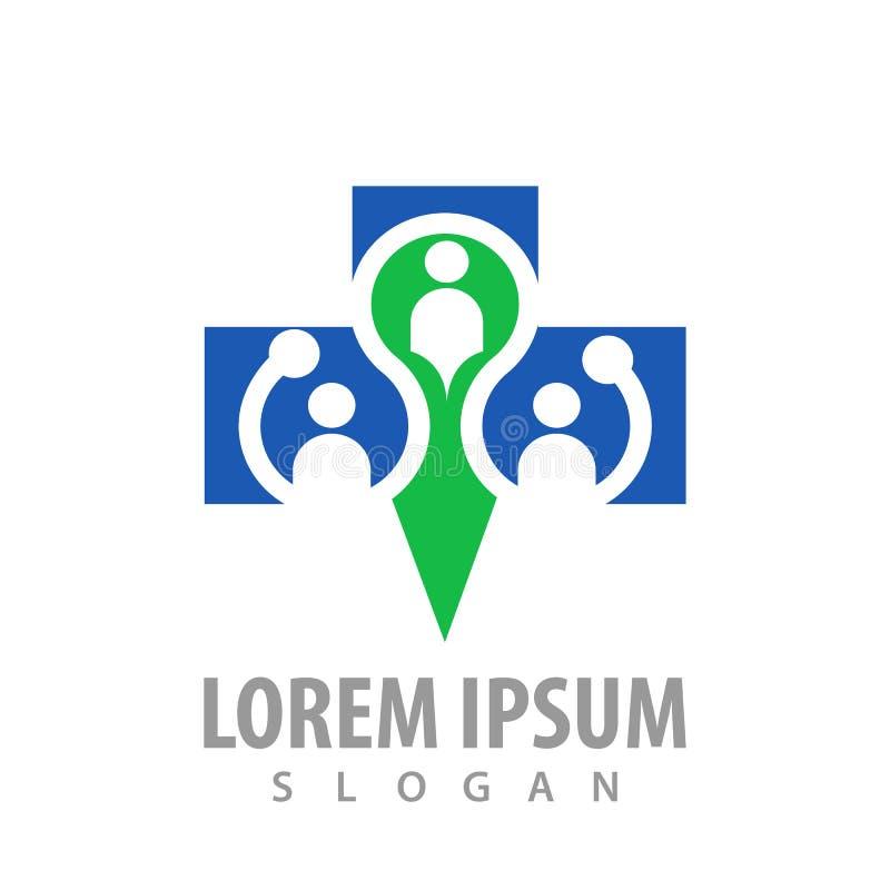 Ludzie krzyżują logo pojęcia projekt Symbolu szablonu elementu graficzny wektor ilustracja wektor