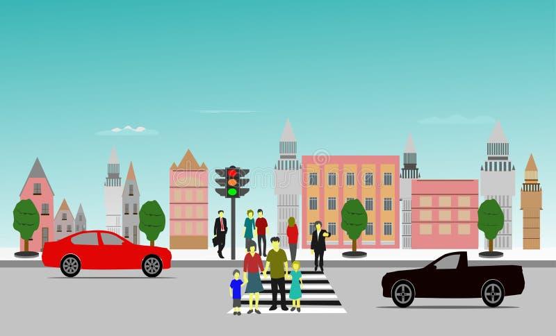 Ludzie krzyżuje crosswalk zatrzymywali czekać, budujący tło ilustracji