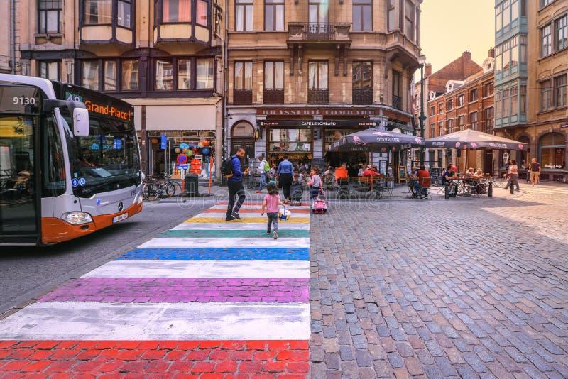 ludzie krzyżuje kolorowej zwyczajnej zebry w starym centrum miasta Bruksela zdjęcia royalty free