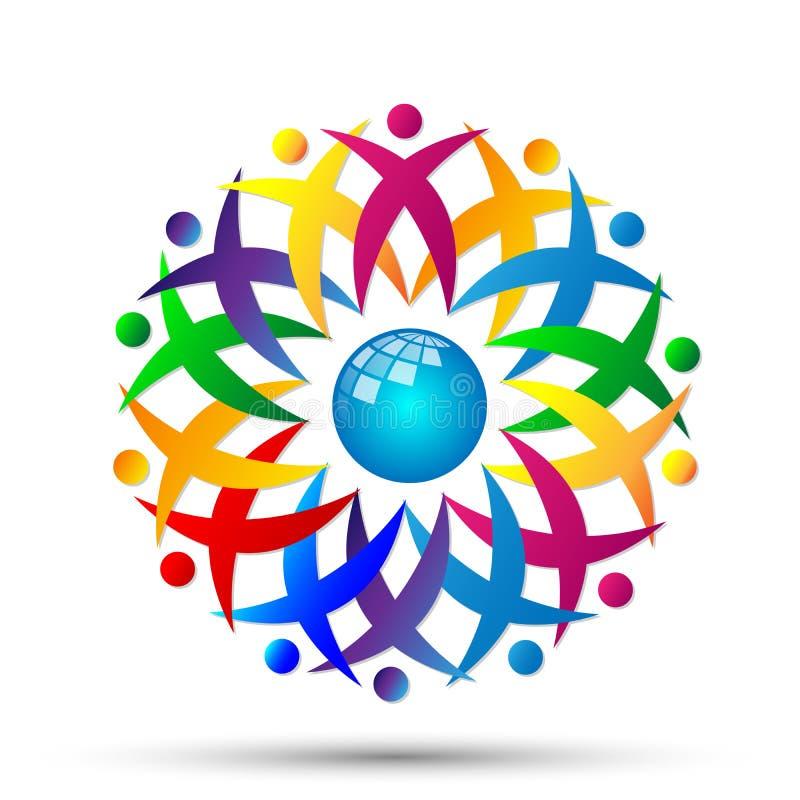 Ludzie kuli ziemskiej drużyny pracy logo partnerstwa edukacji świętowania grupowej pracy różnorodności ikony wektoru projektów na royalty ilustracja