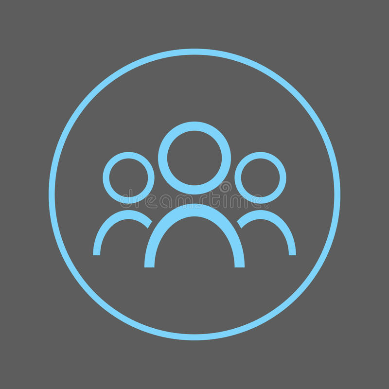 Ludzie kurendy linii ikony Grupowy Round kolorowy znak Drużynowy mieszkanie stylu wektoru symbol royalty ilustracja