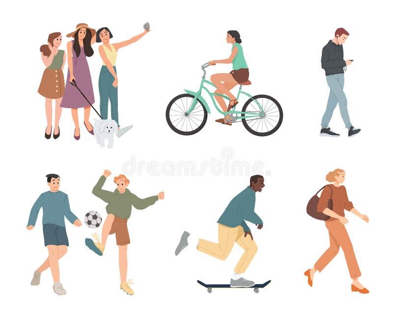 ludzie Lata outdoors aktywno?? Chodzący, Jadący bicykl, bawić się, jeździć na deskorolce Grupa dzieci, chłopiec i dziewczyny, ilustracji
