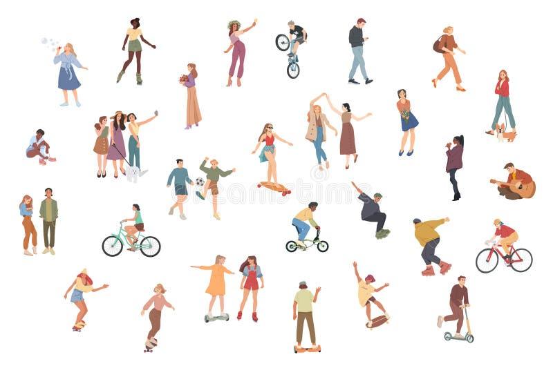 ludzie Lata outdoors aktywno?? Chodzący, Jadący bicykl, bawić się, jeździć na deskorolce Grupa dzieci, chłopiec i dziewczyny, ilustracja wektor