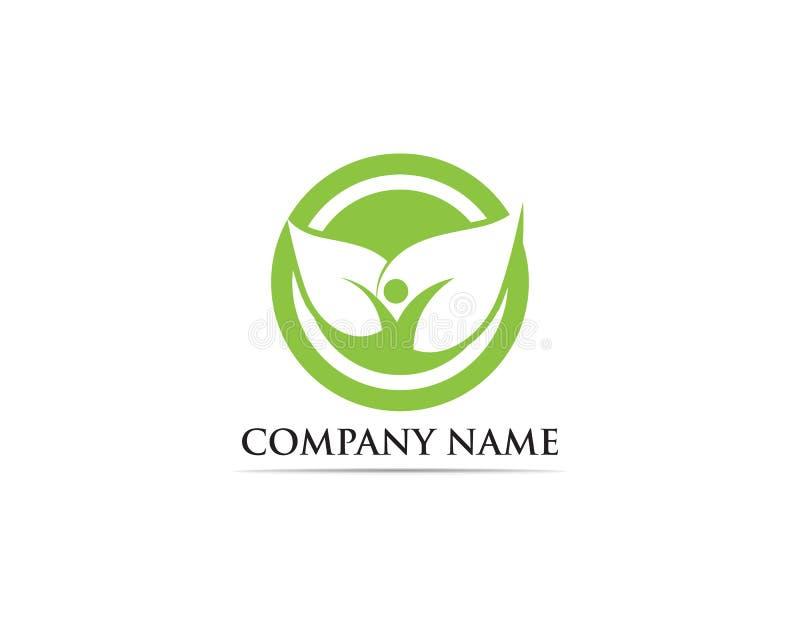 Ludzie liści iść zielony logo ilustracji