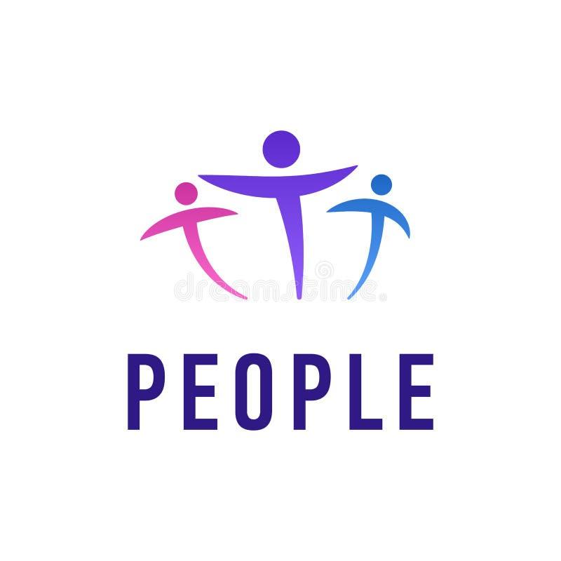 Ludzie loga szablonu Wektorowej ilustraci Kreatywnie społeczności przyjaźni Lub pracy zespołowej ikony Kreskowy projekt ilustracja wektor
