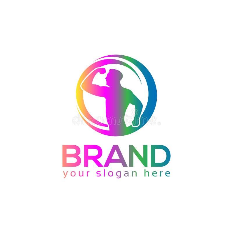 Ludzie loga wektoru ikony Bawi się loga Bodybuilding logo ilustracji