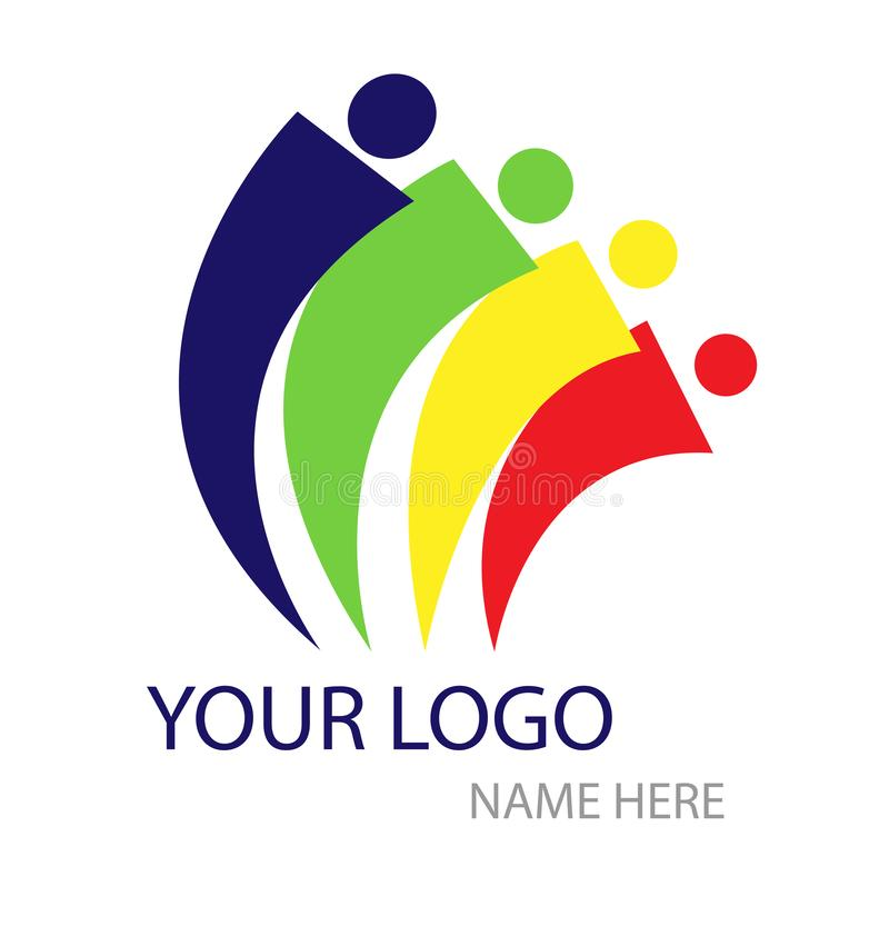 Ludzie logo, drużynowa praca, związek ilustracji