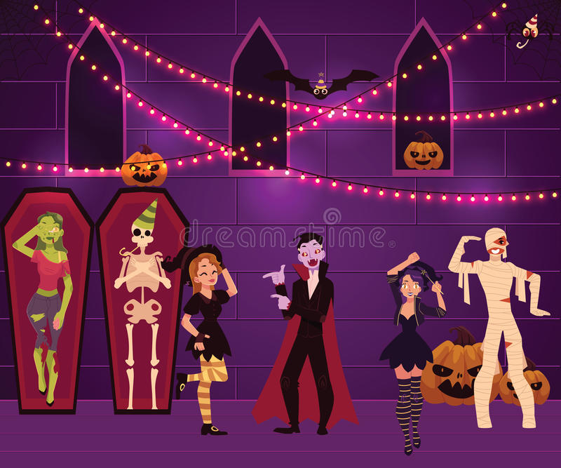 Ludzie ma zabawę przy Halloween przyjęciem, dekorujący klubu nocnego wnętrze ilustracja wektor