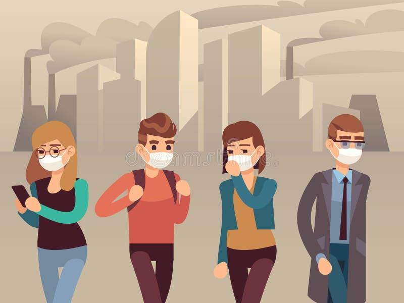 Ludzie miasto smogu Mężczyzna kobiety twarzy masek smogu pyłu zanieczyszczenia substancji toksycznej ochronnego przemysłowego royalty ilustracja