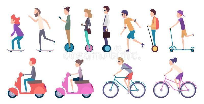 Ludzie miasto transportu Zatłoczonego miastowego transport hulajnogi pojazdu ruchu elektrycznego roweru rolkowi samochody jeździć royalty ilustracja