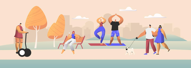 Ludzie mieszkaniec miasta Outdoors aktywności Męscy i Żeńscy charaktery Wydają czasu Parkowego odprowadzenie z zwierzęciem domowy ilustracja wektor