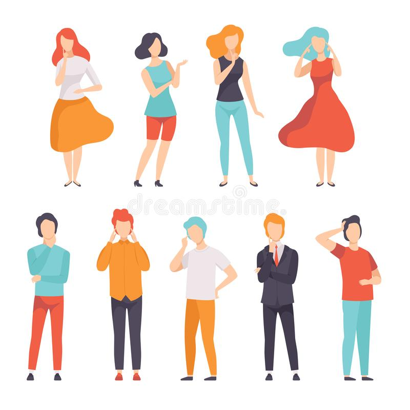Ludzie myśleć lub robi decyzi setu, młodego człowieka i kobiety główkowanie coś, wektorowa ilustracja na bielu ilustracji