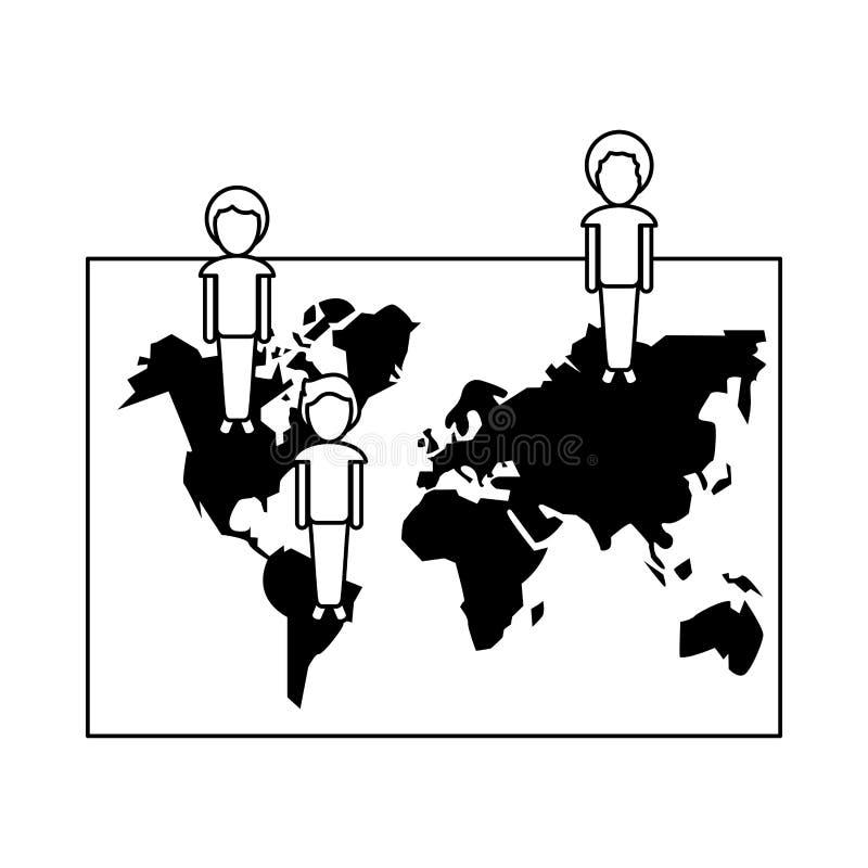 Ludzie na światowej mapy ogólnospołecznej sieci w czarny i biały ilustracja wektor