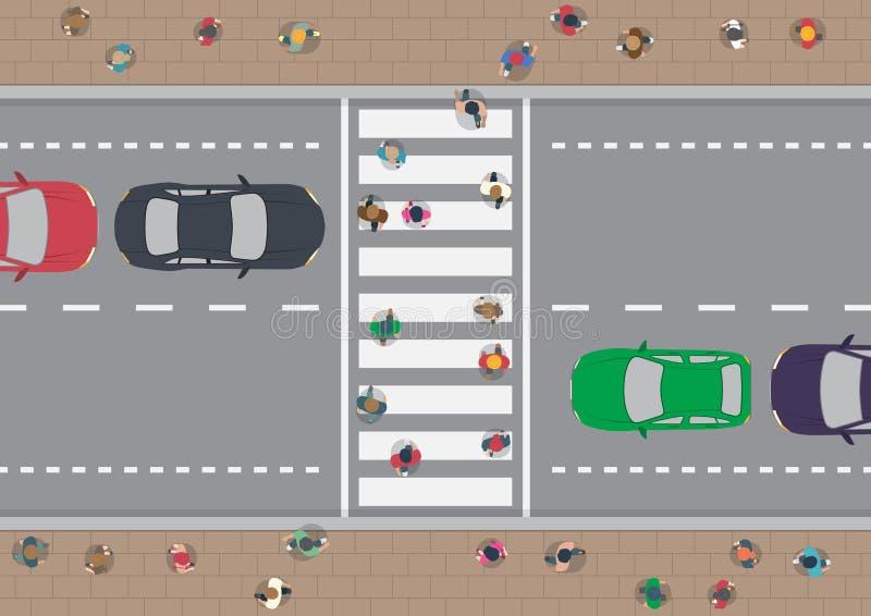 Ludzie na crosswalk ilustracja wektor