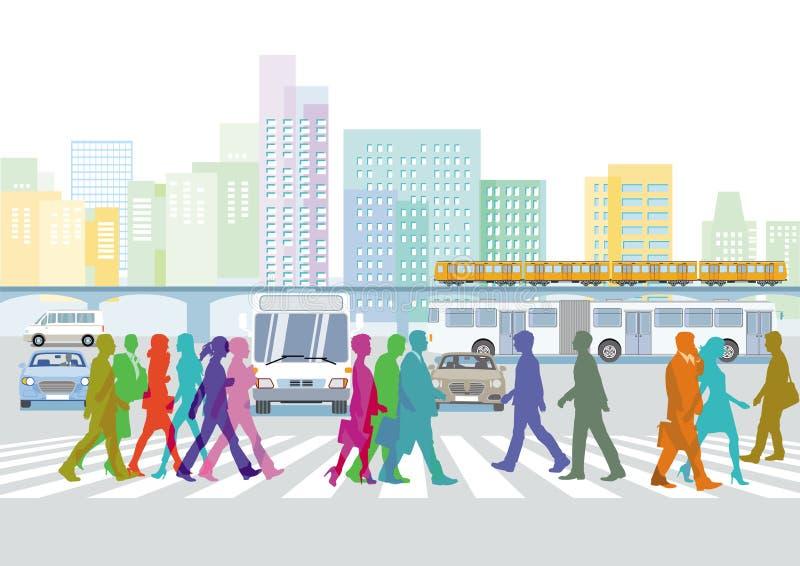 Ludzie na crosswalk ilustracji