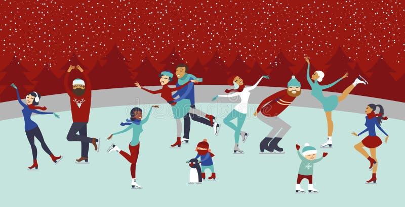 Ludzie na lodowym lodowisku ilustracji