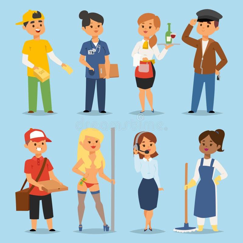Ludzie na pół etatu pracy zawodów wektoru charakterów chwilowej pracy rekrutaci ustalonego pojęcia Różni pracownicy lub czas ilustracji