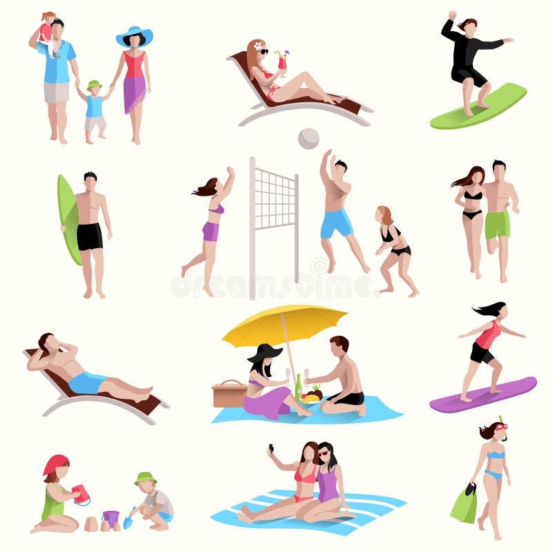 Ludzie Na Plażowych ikonach ilustracja wektor