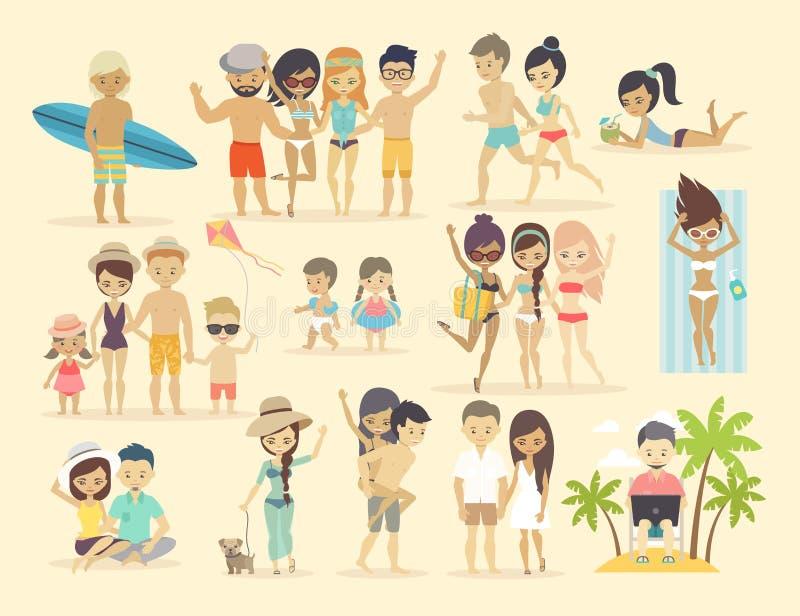 Ludzie na plaży ilustracja wektor