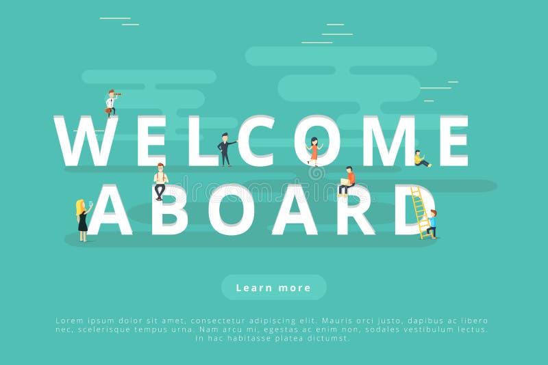Ludzie na powitaniu Aboard ilustracja wektor