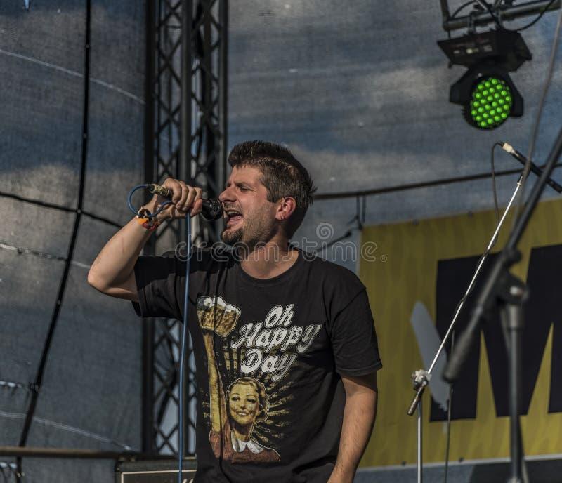 Ludzie na scenie na festiwalu muzyki obrazy royalty free