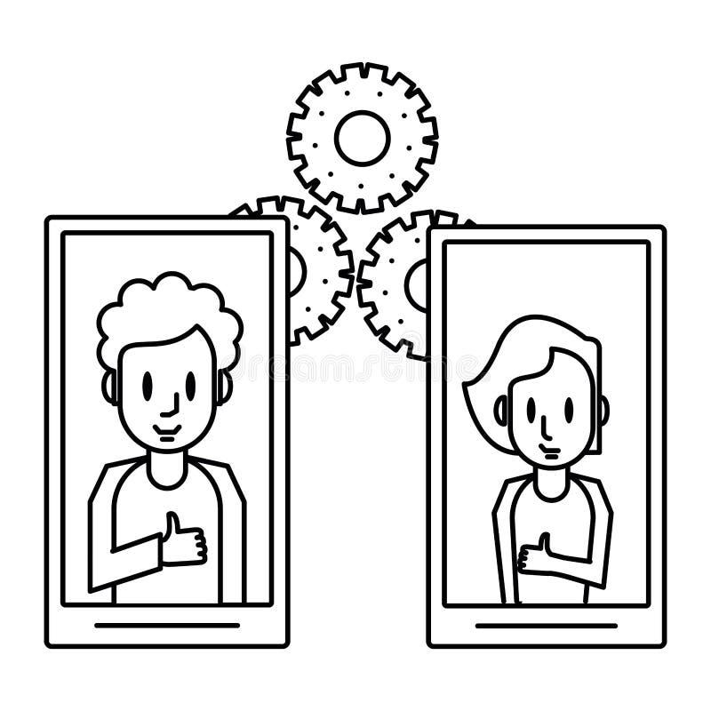 Ludzie na smartphones i przekładniach ilustracja wektor