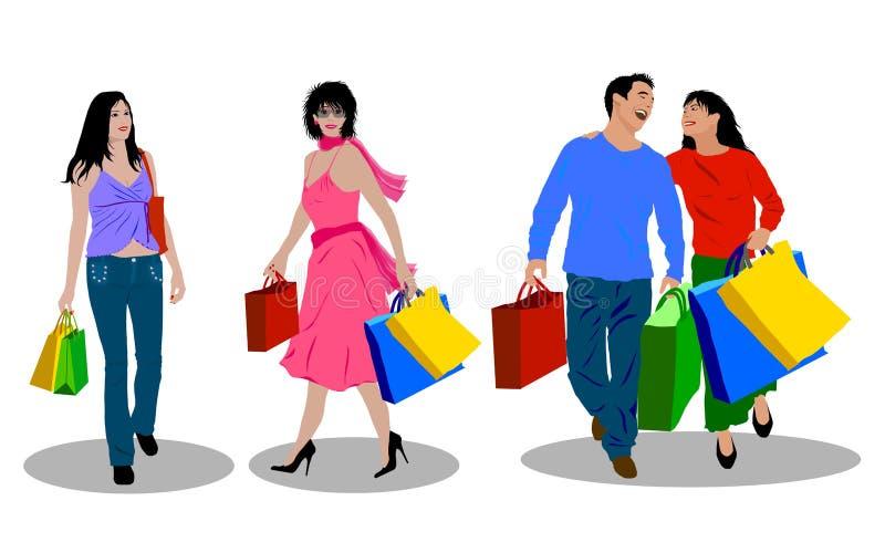 ludzie na zakupy. ilustracji