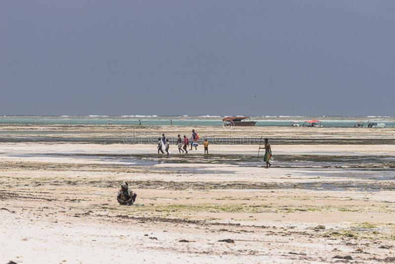 Ludzie na Zanzibar plaży fotografia stock