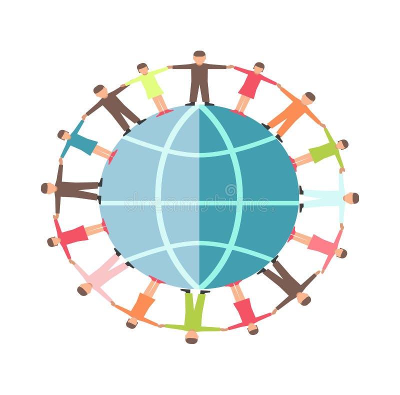 Ludzie na ziemskiej kuli ziemskiej ręce w ręka symbolu dla dobroczynności i darowizny ogólnospołecznej organizaci ilustracji